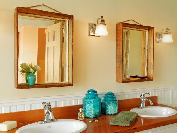 hanging wood mirror
