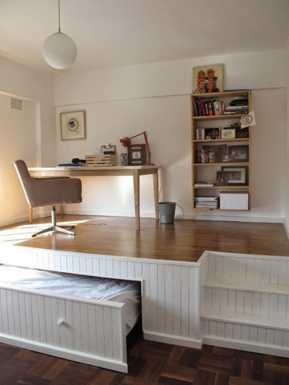 Hidden Deck Bedroom Office Combo