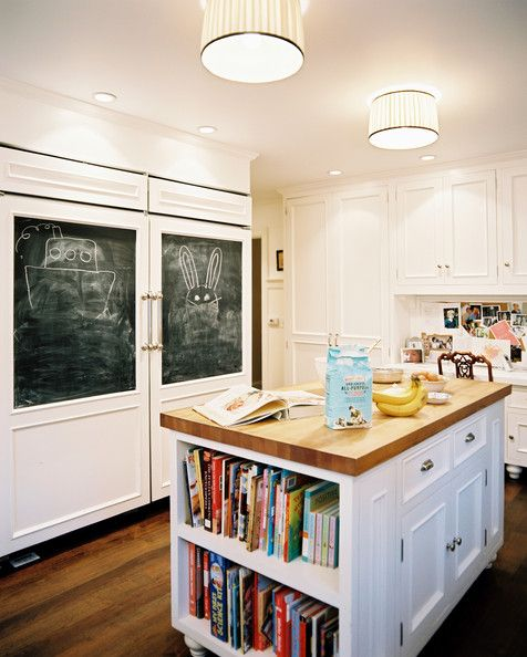 mini library in the kitchen island
