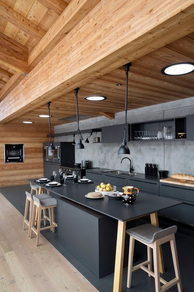 minimalist black and wood kitchen island