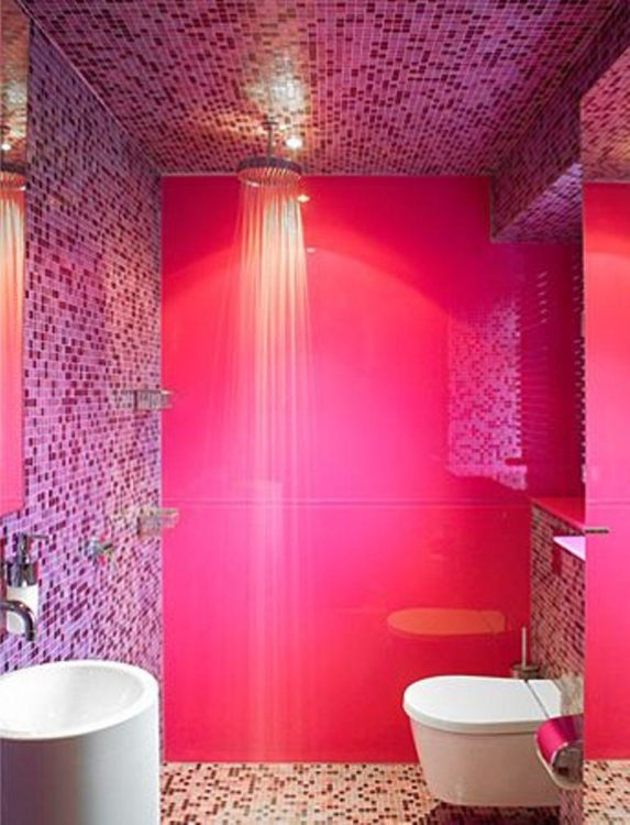 mosaic pink bathroom