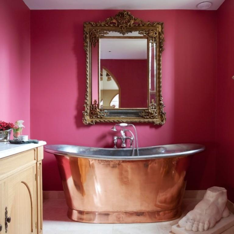 copper pink bathroom