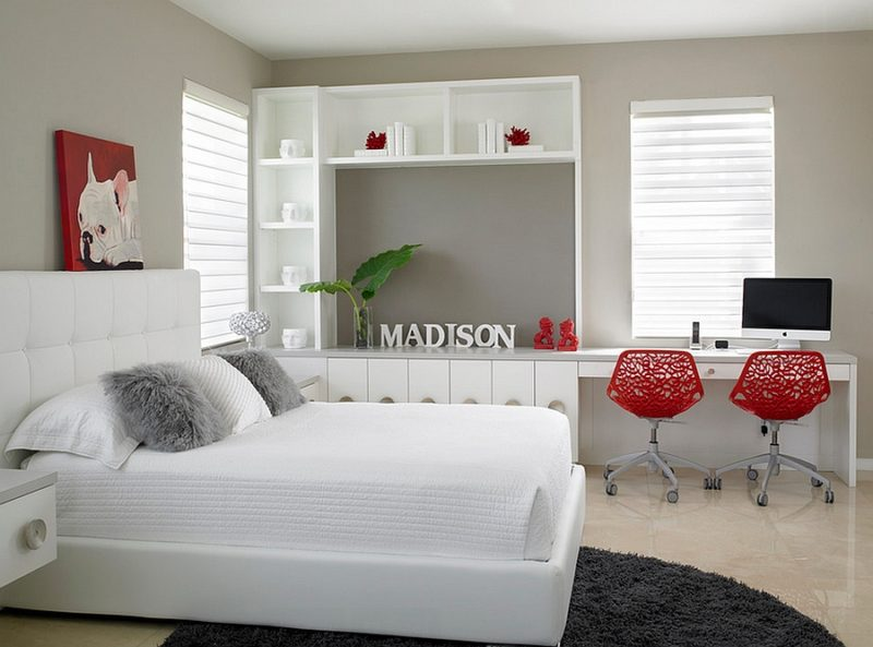 Red in White Bedroom Office Combo
