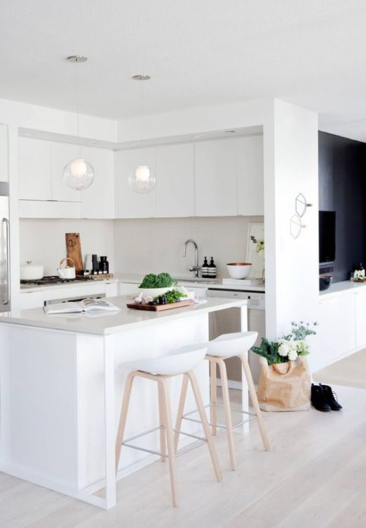 small and modern white kitchen island