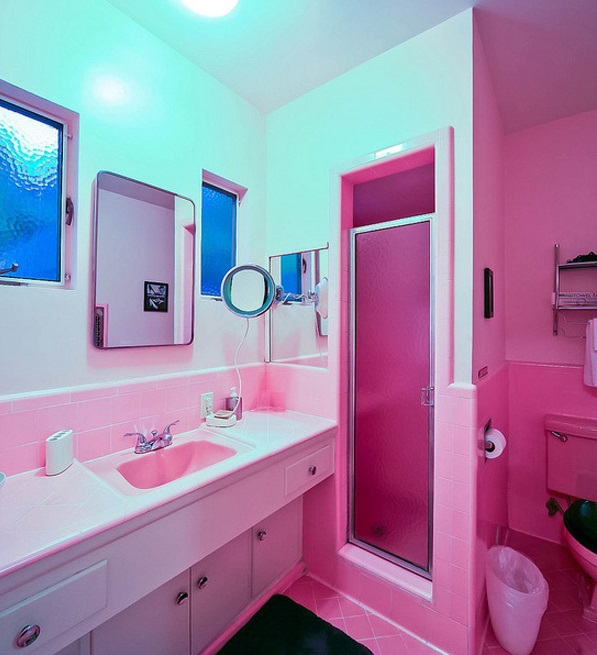 small pink bathrooms