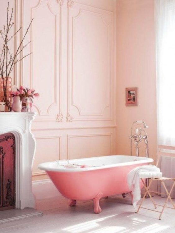 sumptuous pink bathroom