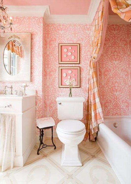 vintage luxury pink bathroom