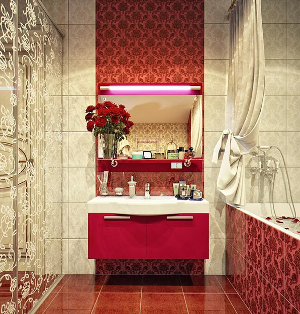vintage patterned pink bathrooms