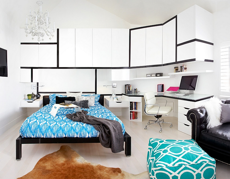 White and Blue Bedroom Office Combo