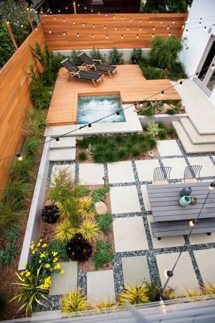 Backyard Garden Landscaping Design with Patio Deck