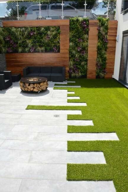 Backyard Patio with Vertical Garden Landscape