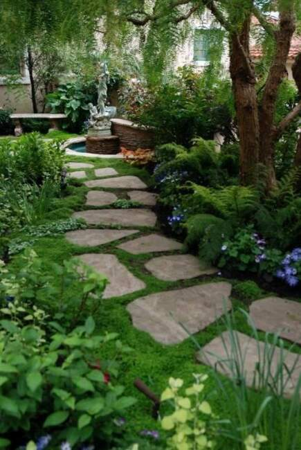 Lawn Garden Landcaping Ideas with Stone Pathway