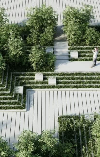 Modern Garden Landscaping with Minimalist Design Concept