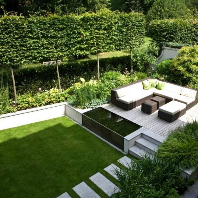 Simple Lawn Garden Landscape with Patio
