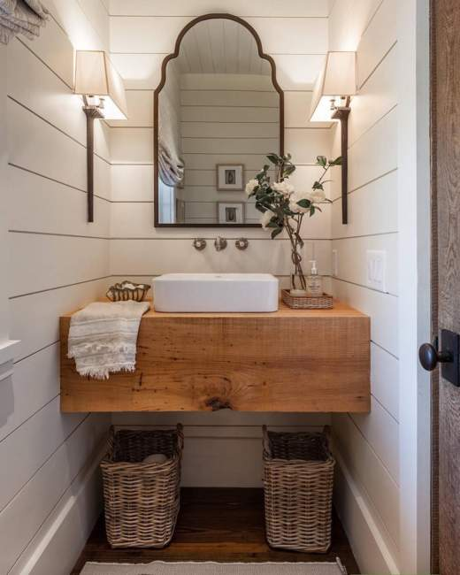 coastal wood half bathroom ideas