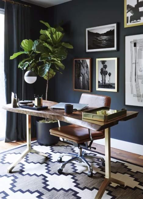 dark diy home office design ideas
