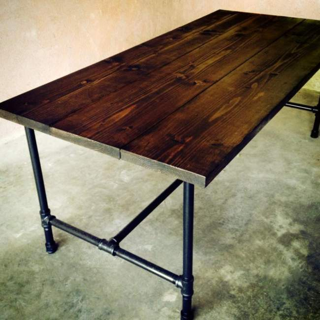 Dark Wood Pipe Table Ideas