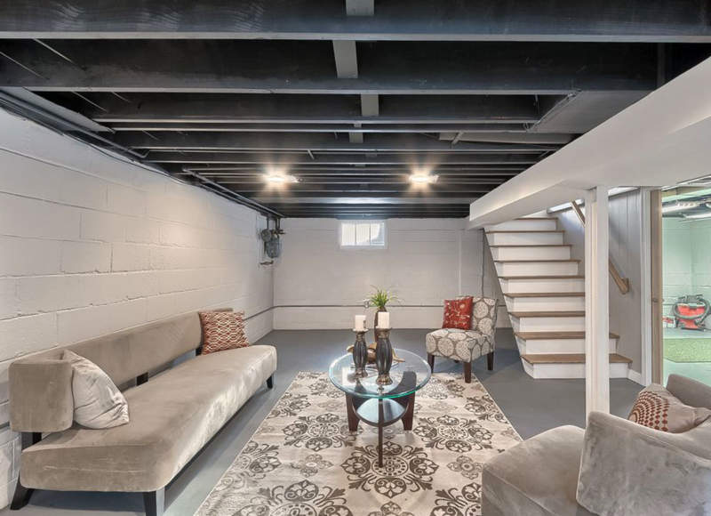 Eclectic Unfinished Basement Ideas