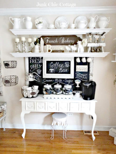 french farmhouse coffee bar ideas