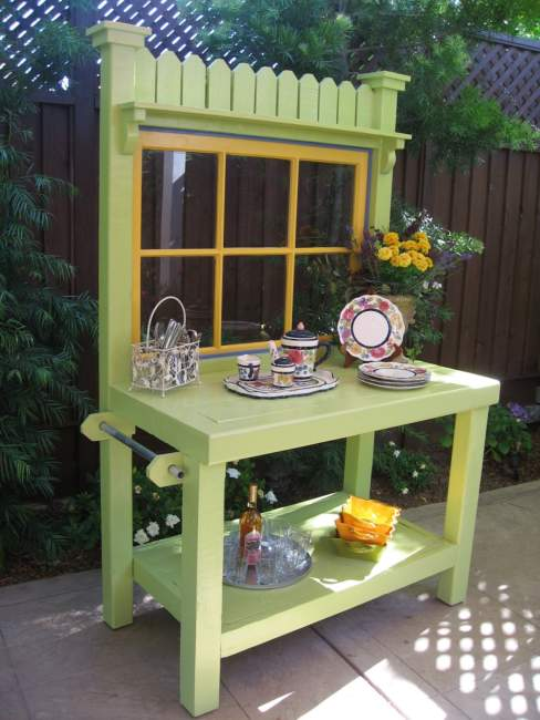 Green Potting Bench Ideas