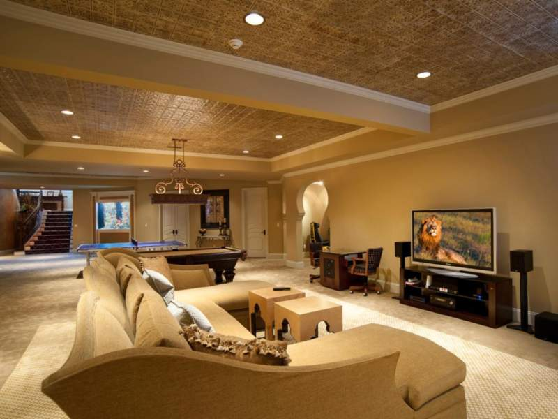 Home Entertainment Unfinished Basement Ideas