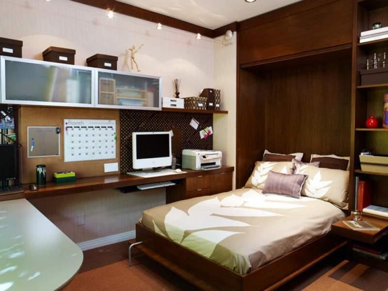 log bedroom office combos