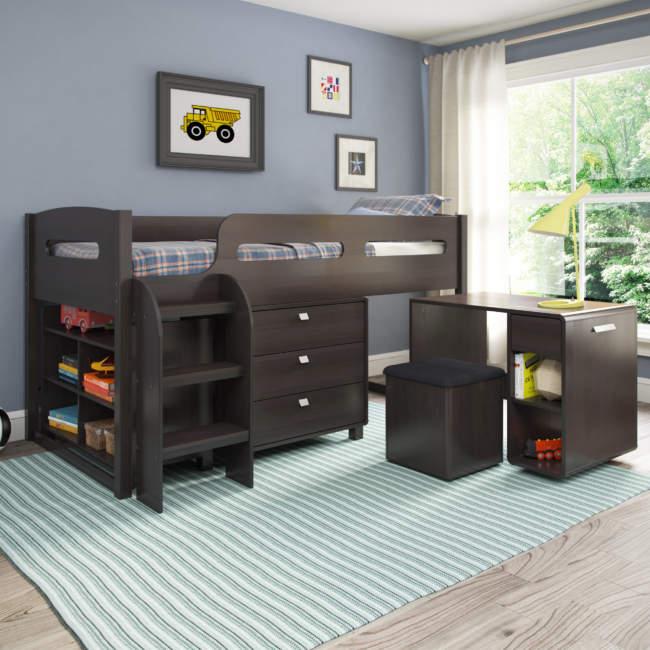 Minimalist Dark Wood Kids Room Storage Ideas