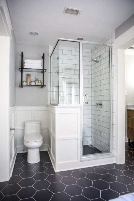monochrome basement bathroom ideas