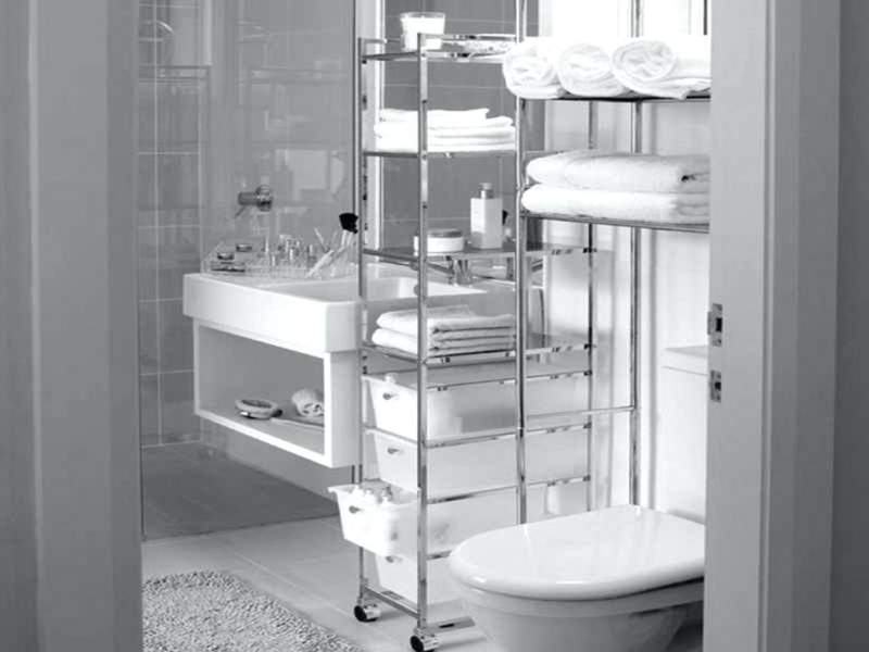 monochrome built in bathroom storage ideas