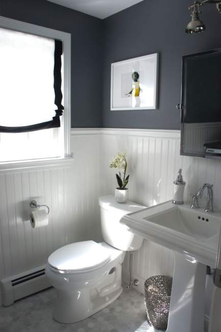 monochrome half bathroom ideas