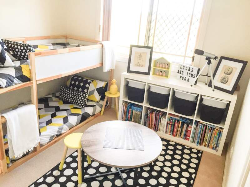 Monochrome Kids Room Storage Ideas