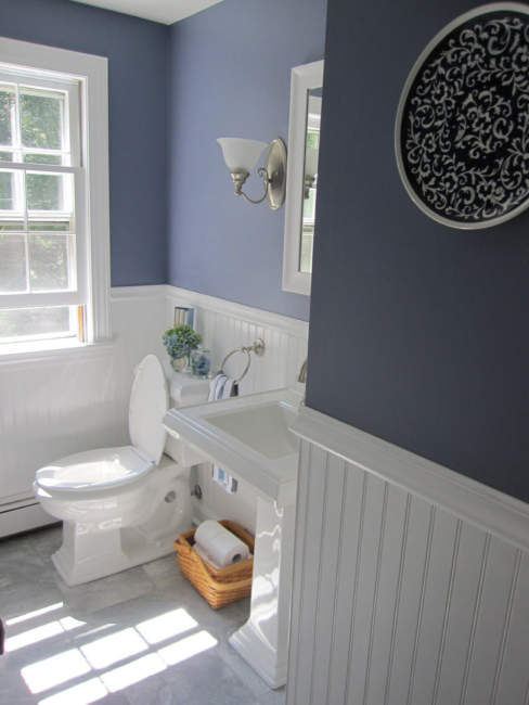navy white half bathroom ideas
