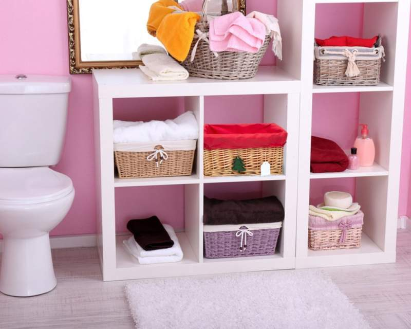 Pink White Savvy Bathroom Storage Ideas