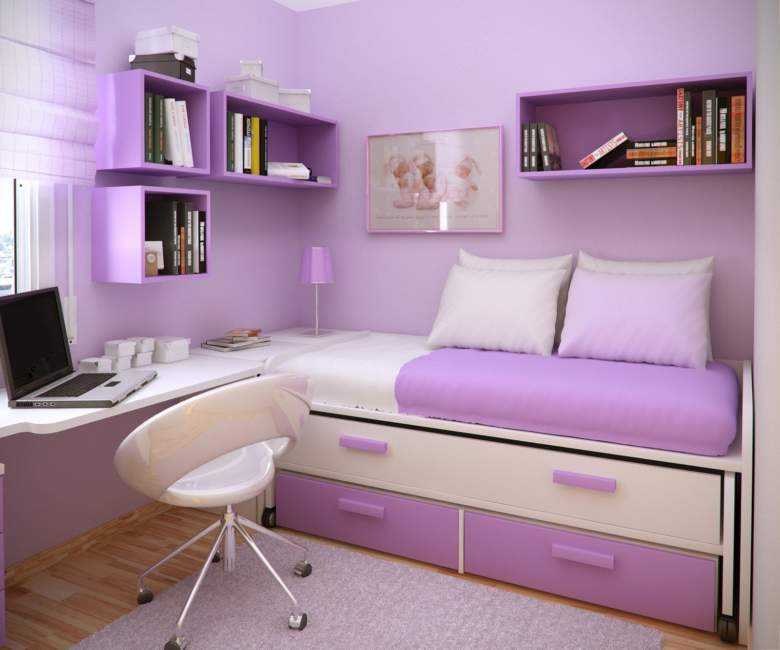 purple bedroom office combos