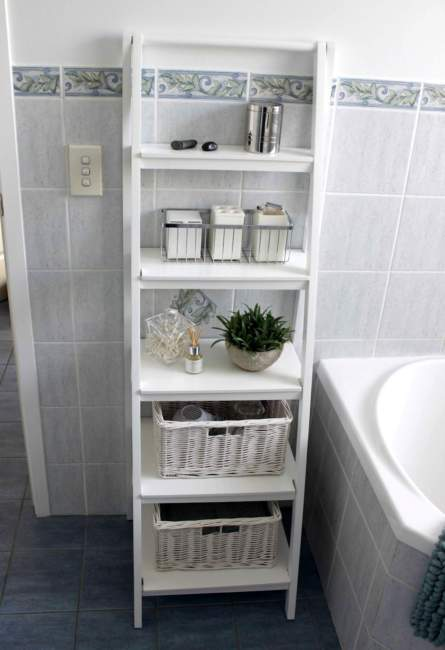 standing shelves built in bathroom storage ideas