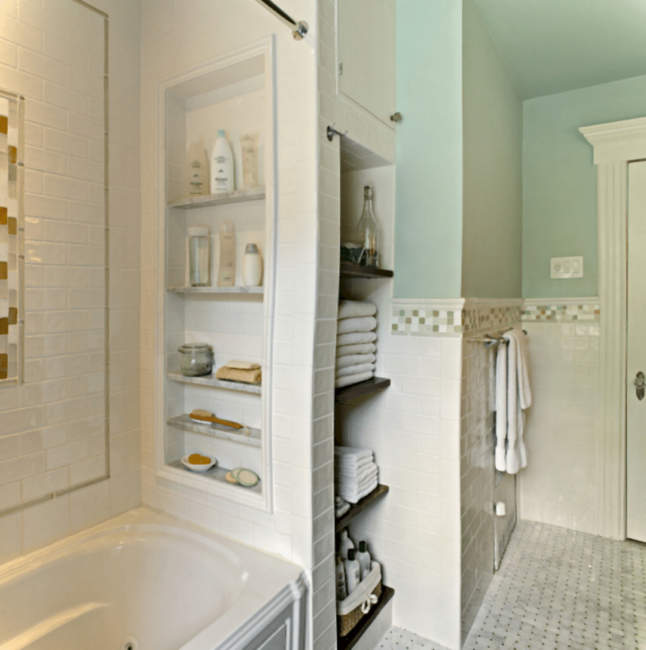 Tiny built in bathroom storage ideas
