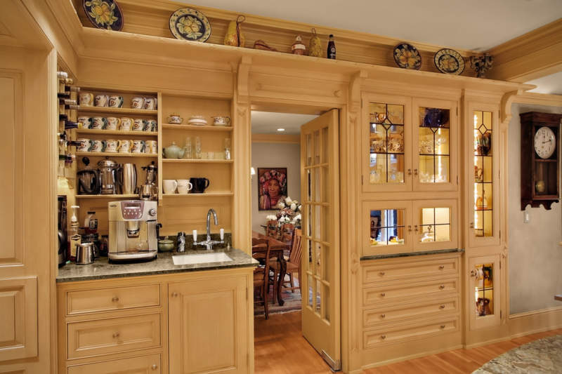 traditional cabinet coffee bar ideas