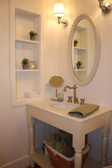 victorian style built in bathroom storage ideas