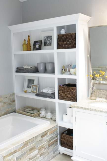 white shelves built in bathroom storage ideas