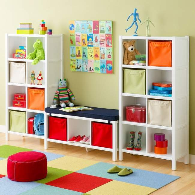 White Shelves Kids Room Storage Ideas