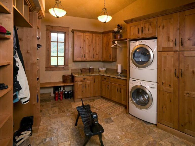 All Wood Basement Laundry Room