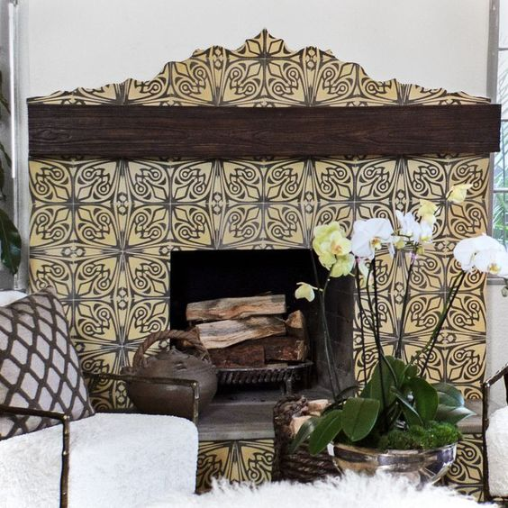 Artsy Fireplace Tile Ideas