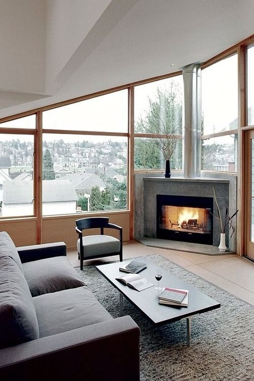 Below Glass Window Corner Fireplace