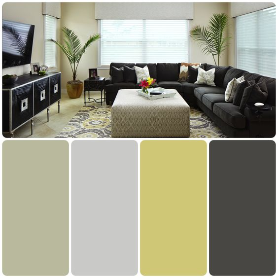 Black Pastel Green Living Room Color Scheme Ideas