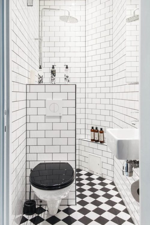 Black and White Tiny House Bathroom