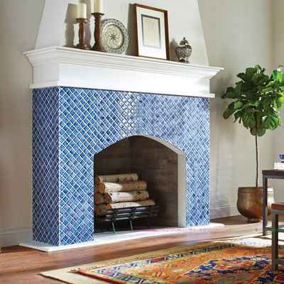 Blue Square Fireplace Tile Ideas
