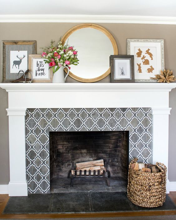 Bold Pattern Fireplace Tile Ideas