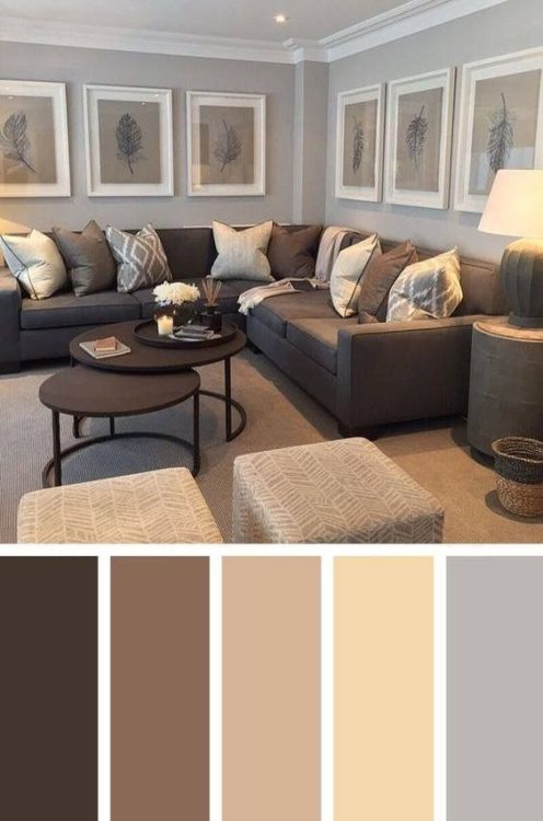Calm Brown Grey Living Room Color Scheme Ideas