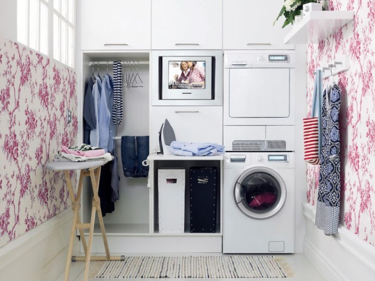 Chic Basement Laundry Room