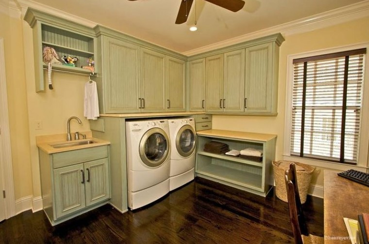 Corner Basement Laundry Room